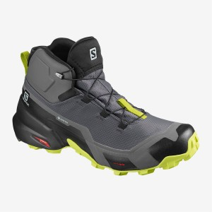 Buty Męskie Trekkingowe Salomon CROSS HIKE MID GTX - Magnet / Black / Lime Punch