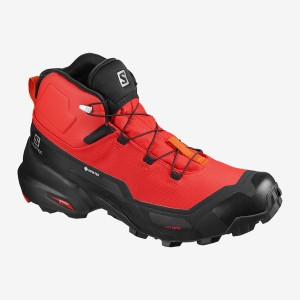Buty Męskie Trekkingowe Salomon CROSS HIKE MID GTX - Goji Berry / Black / Red Orange